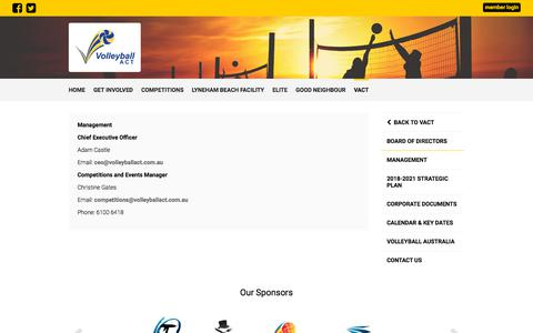 Screenshot of Team Page volleyballact.com.au - Management - Volleyball ACT - captured Sept. 20, 2018