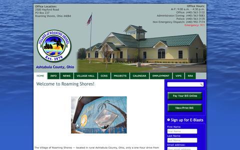 Screenshot of Home Page roamingshoresoh.gov - Village of Roaming Shores - captured Oct. 18, 2018