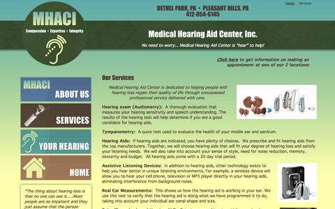 Screenshot of Services Page medicalhearingaid.com - Services - captured Oct. 27, 2014