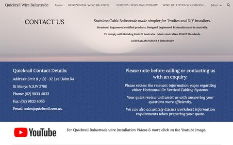 Screenshot of Contact Page google.com - Quickrail Wire Balustrade - CONTACT US - captured July 1, 2018