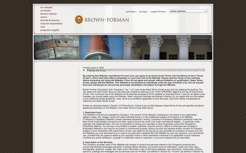 Screenshot of Terms Page brown-forman.com - Terms of Use   Brown-Forman - captured Sept. 19, 2014