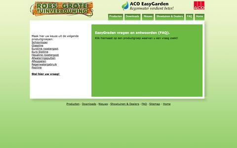 Screenshot of FAQ Page aco-easygarden.nl - ACO EasyGarden - Regenwater verdient beter! - captured Sept. 30, 2014