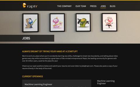 Screenshot of Jobs Page raptr.com - Jobs | Raptr - captured Oct. 28, 2014