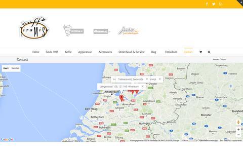 Screenshot of Contact Page tiramisu.nl - Contact - Caffè Tiramisu - La Casa del Caffè - captured Jan. 24, 2016