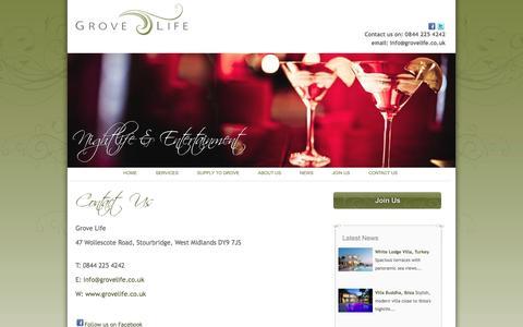 Screenshot of Contact Page grovelife.co.uk - Grove Life - Contact Us - captured Sept. 30, 2014