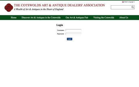 Screenshot of Login Page cotswolds-antiques-art.com - Login - The Cotswold Art & Antique Dealers Association - captured Sept. 25, 2018