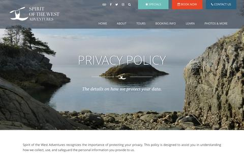 Screenshot of Privacy Page kayakingtours.com - Privacy Policy - captured Oct. 19, 2018