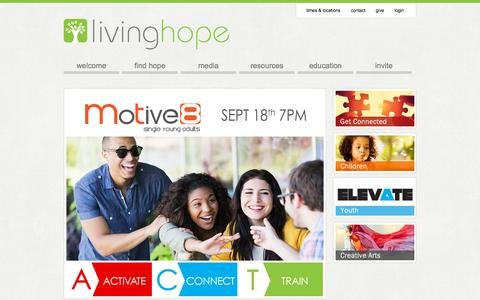 Screenshot of Home Page findhope.tv - Home | Living Hope Church Hamilton - captured Sept. 20, 2015