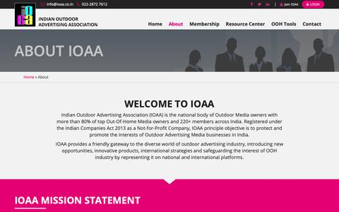 Screenshot of About Page ioaa.co.in - Indian Outdoor Advertising Association - captured Oct. 1, 2018