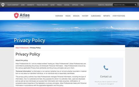 Screenshot of Privacy Page atlasprofessionals.com - Contact | Atlas Professionals - captured Oct. 18, 2018