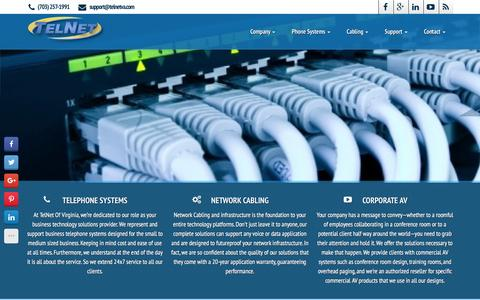 Screenshot of Home Page telnetva.com - Business Telephone Systems, Network Cabling : CALL (703) 257-1991 - Sales and Installation of traditional and VoIP Business Phones Serving VA and DC - captured Feb. 14, 2016