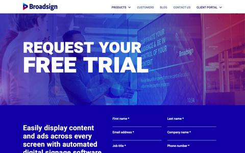 Screenshot of Trial Page broadsign.com - Free Trial (Rebrand) - captured Jan. 16, 2019