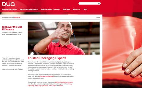 Screenshot of About Page duo-uk.co.uk - Duo Plastics UK Polythene Packaging Suppliers - captured Sept. 30, 2014