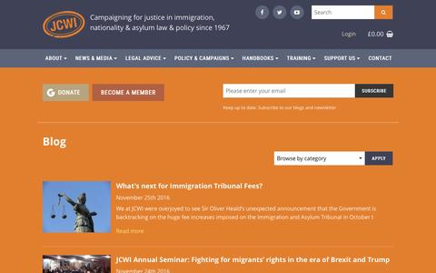 Screenshot of Blog jcwi.org.uk - Blog | Joint Council for the Welfare of Immigrants - captured Nov. 27, 2016