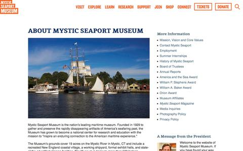 Screenshot of About Page mysticseaport.org - About Mystic Seaport Museum  |  Mystic Seaport - captured May 14, 2018