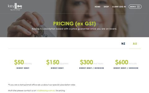 Screenshot of Pricing Page keylog.com.au - Pricing | Keylog - captured Sept. 20, 2018