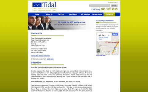 Screenshot of Maps & Directions Page tidal-group.com - Contact Us at Tidal Technologies - captured Oct. 7, 2014