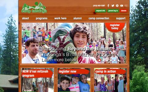 Screenshot of Home Page tawonga.org - Camp Tawonga | Jewish Summer Camp in Northern California | Kids Teens Families - captured Jan. 25, 2016