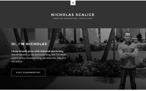 Screenshot of Home Page nicholasscalice.com - Nicholas Scalice   Inbound Marketing Consultant - captured Sept. 4, 2015