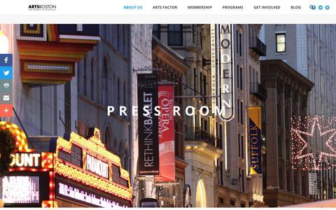Screenshot of Press Page artsboston.org - Press Room - ArtsBoston - captured July 30, 2018