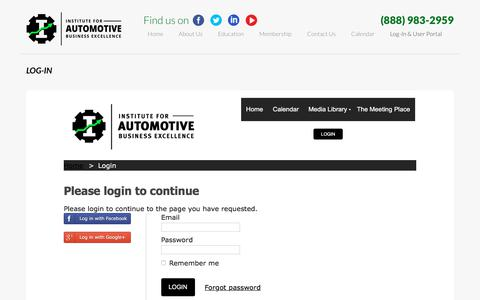 Screenshot of Login Page iforabe.com - Log-In & User Portal | Institute for Automotive Business Excellence - captured Oct. 15, 2017