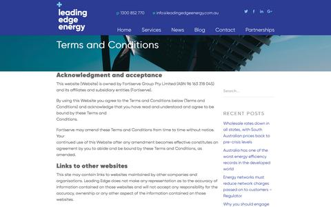 Screenshot of Terms Page leadingedgeenergy.com.au - Terms and Conditions - Leading Edge Energy - captured July 17, 2018