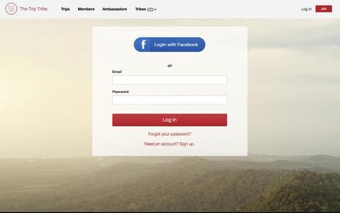 Screenshot of Login Page triptribe.com - Log In — The Trip Tribe - captured Nov. 2, 2014