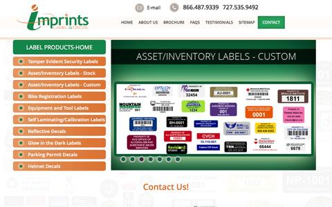 Screenshot of Contact Page imprints.com - Contact Us: Reflective Decals, Stickers, Tags & Labels - imprints - captured Oct. 6, 2014