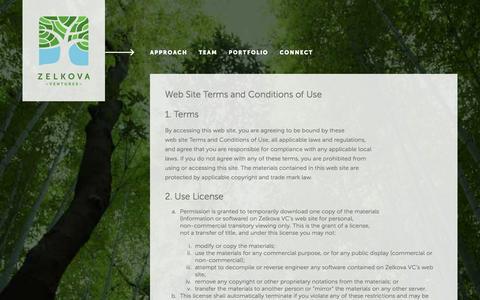 Screenshot of Terms Page zelkovavc.com - ZelkovaVC » Terms - captured Jan. 24, 2016