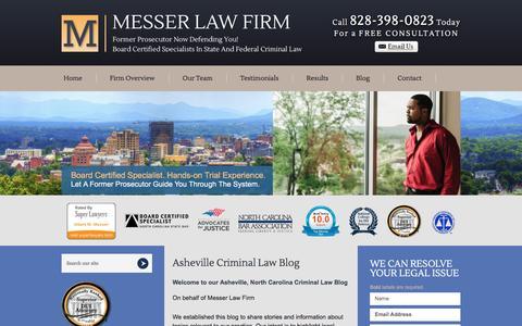 Screenshot of Blog messerlaw.com - Asheville Criminal Law Blog | North Carolina Criminal Defense Blog - captured June 20, 2016