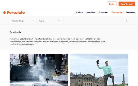 Screenshot of Case Studies Page percolate.com - Case Study Archives | Page 2 of 2 | Content Marketing Resources + Insights | Percolate - captured Feb. 11, 2019