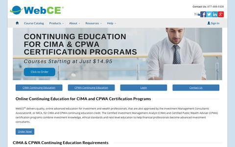 CIMA CE | CPWA CE | IMCA Designations | WebCE
