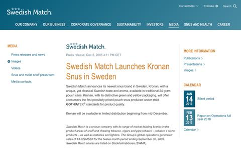 Screenshot of Press Page swedishmatch.com - Swedish Match - Swedish Match Launches Kronan Snus in Sweden - captured Nov. 1, 2018