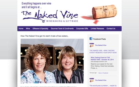 Screenshot of About Page thenakedvine.com - How The Naked Vine got it's start!  A tale of two sisters.. - captured Oct. 9, 2014