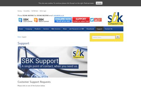 Screenshot of Support Page sbk.co.uk - SBK IT Support: Remote, Hardware and Software Support.SBK Computers Ltd - captured Nov. 17, 2016