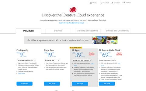 Screenshot of Pricing Page adobe.com - Creative Cloud pricing and membership plans | Adobe Creative Cloud - captured Nov. 23, 2016