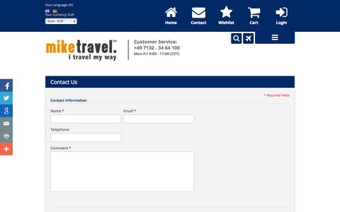 Screenshot of Contact Page mike-travel.com - Contact Us - captured Oct. 9, 2014