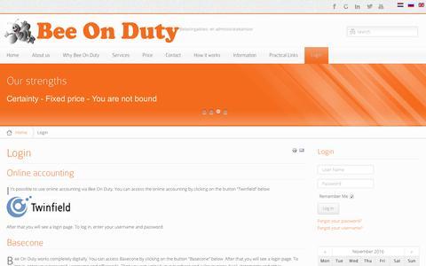 Screenshot of Login Page beeonduty.nl - beeonduty.nl - Login | beeonduty.nl - captured Nov. 22, 2016