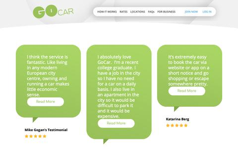 Screenshot of Testimonials Page gocar.ie - Testimonials | GoCar | Ireland's Only Car Sharing Company - captured Dec. 15, 2018