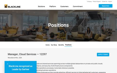 Screenshot of Jobs Page blackline.com - Manager, Cloud Services| Woodland Hills, CA, United States - captured Nov. 29, 2019