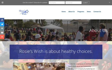 Screenshot of About Page rosieswish.org - About Us   Rosie's Wish - Help Is On The Way - captured Nov. 19, 2018
