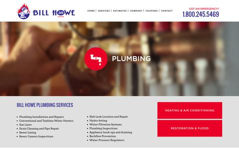 Screenshot of Services Page billhowe.com - San Diego Plumbing, Plumbing San Diego - captured Feb. 7, 2016