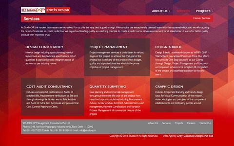 Screenshot of Services Page studioxp.in - StudioXP offers design consultancy, project management, design and build services. | STUDIO XP Management Consultants, Delhi. India - captured Dec. 18, 2016