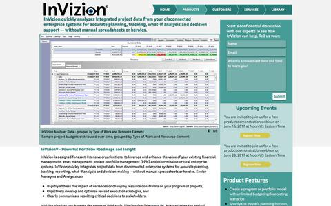 Screenshot of Products Page invizionllc.com - InVizion product details - captured June 7, 2017
