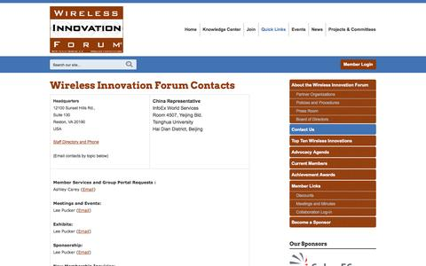 Screenshot of Contact Page wirelessinnovation.org - Contact Us - captured Oct. 7, 2014