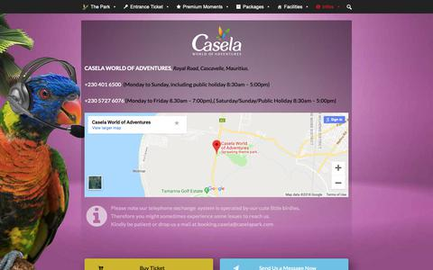 Screenshot of Contact Page caselapark.com - Contact us | CASELA - captured Nov. 20, 2018