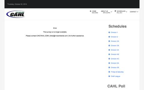 Screenshot of Team Page cincyahl.com - CAHL Team Registration - CAHL - captured Oct. 2, 2014