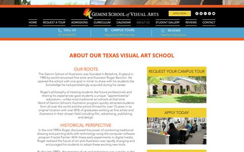 Screenshot of About Page geminischool.com - About Our Texas Visual Art School | Gemini School of Visual Arts - captured Sept. 27, 2018