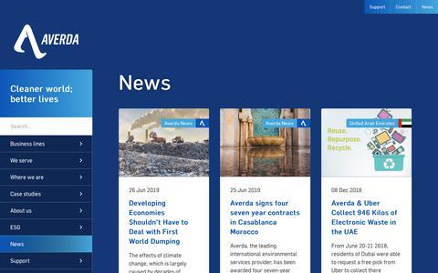 Screenshot of Press Page averda.com - Averda News   Averda   Waste Management - captured Nov. 23, 2019