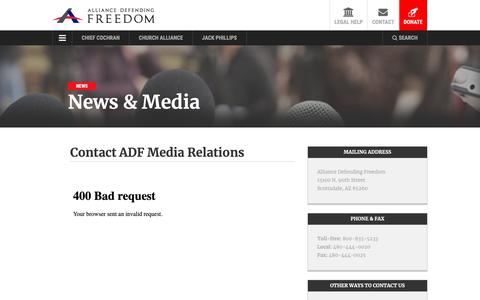 Screenshot of Contact Page adflegal.org - Request Media Interview - captured Oct. 18, 2018